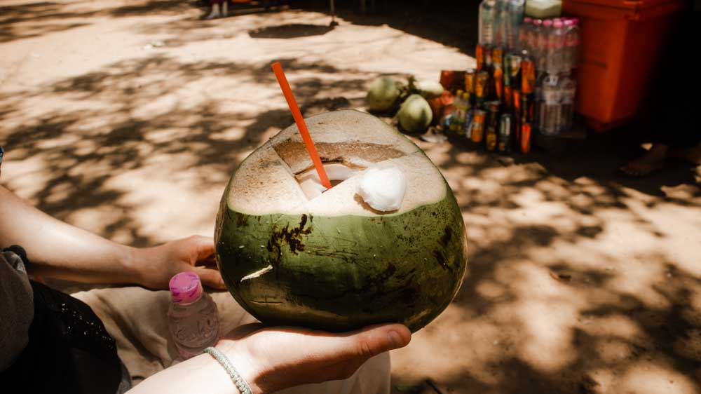Cheap Coconut in Cambodia is super refreshing